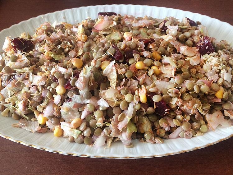 Tel Kadayıflı Yeşil Mercimek Salatası